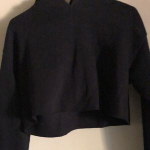 URBAN OUTFITTERS OFU CROPPED BLACK HOODIE